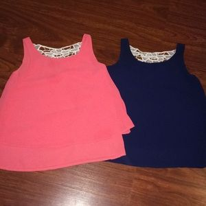 Girls size 7 tops, pink and blue